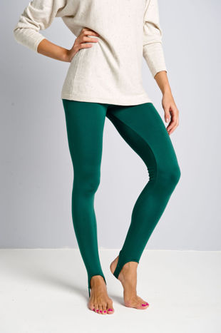 Zielone legginsy zakładane na stopę                                  zdj.                                  1