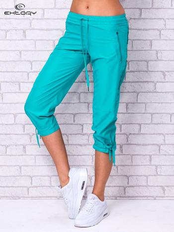 Zielone spodnie sportowe capri z siateczką