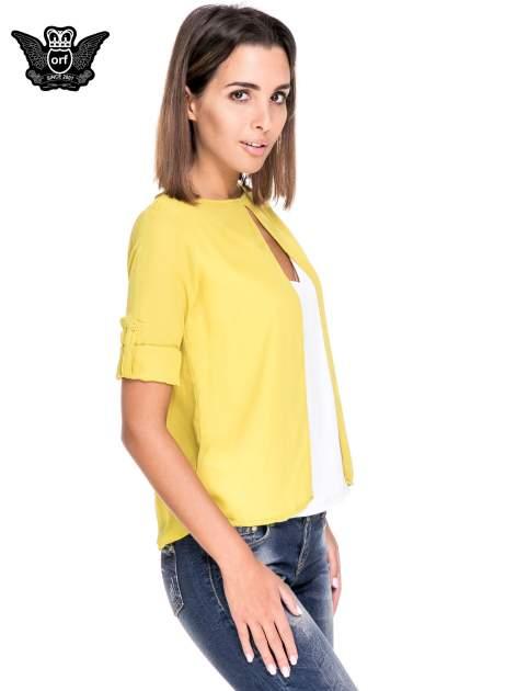 Zielono-biała dwuwarstwowa koszula o kroju narzutki                                  zdj.                                  5