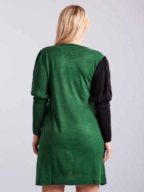 Zielono-czarna sukienka dzianinowa PLUS SIZE                              zdj.                              2