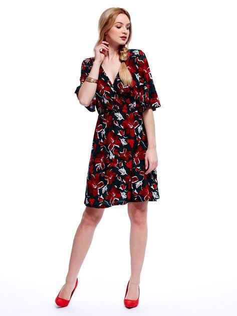 Zielono-czerwona sukienka w kwiaty z kopertowym dekoltem                                  zdj.                                  5