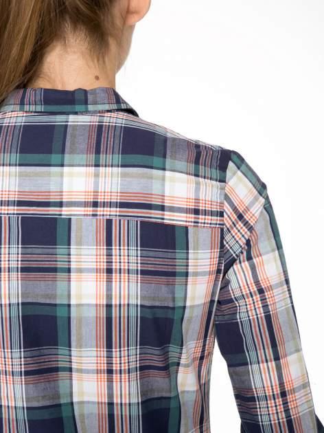Zielono-granatowa koszula w kratę z kieszeniami                                  zdj.                                  9