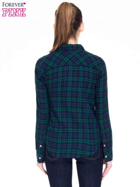 Zielono-granatowa koszula w kratę z kieszonkami                                  zdj.                                  5