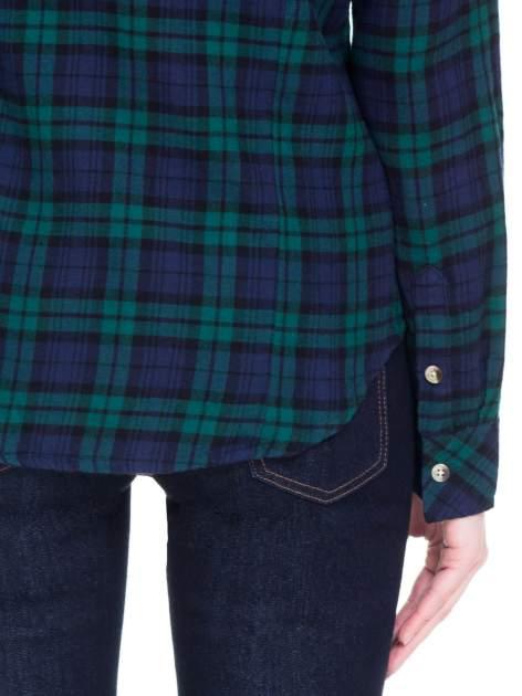 Zielono-granatowa koszula w kratę z kieszonkami                                  zdj.                                  9