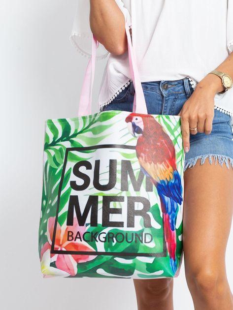 Zielono-różowa torba z egzotycznym nadrukiem                              zdj.                              1