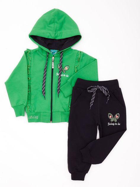 Zielono-szary komplet dla dziewczynki z dżetami                              zdj.                              1