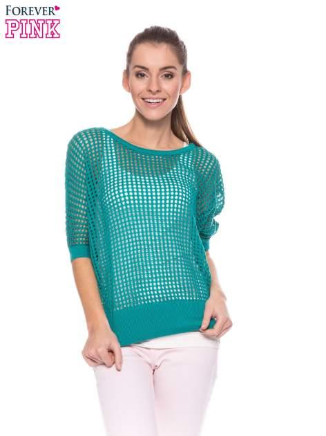 Zielony ażurowy sweter oversize                                  zdj.                                  1