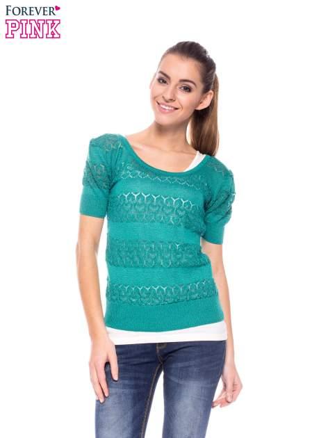 Zielony ażurowy sweterek w stylu retro                                  zdj.                                  1