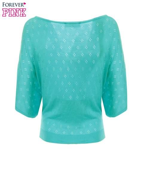 Zielony ażurowy sweterek z krótkim rękawem                                  zdj.                                  6