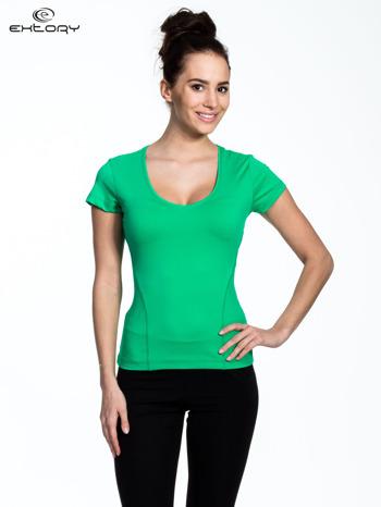 Zielony damski t-shirt sportowy z dekoltem U                                  zdj.                                  1