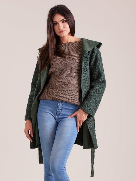 Zielony dzianinowy płaszcz z kapturem                              zdj.                              5