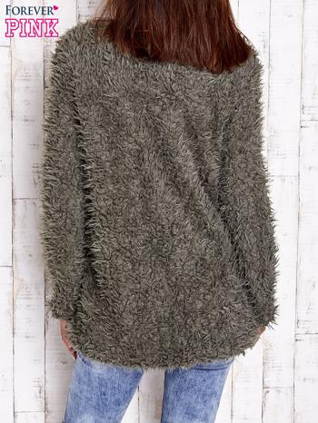 Zielony futrzany sweter kurtka na suwak                                  zdj.                                  6