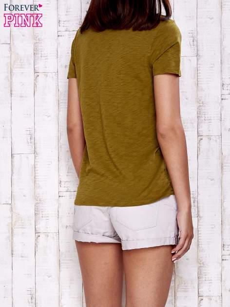 Zielony gładki t-shirt basic                                  zdj.                                  2