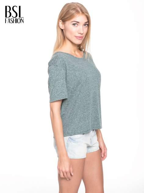 Zielony melanżowy t-shirt o luźnym kroju                                  zdj.                                  4