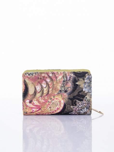 Zielony portfel z kwiatowymi motywami                                  zdj.                                  2