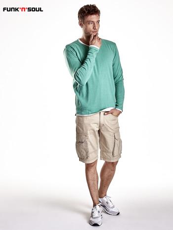 Zielony sweter męski w serek Funk n Soul                                  zdj.                                  3