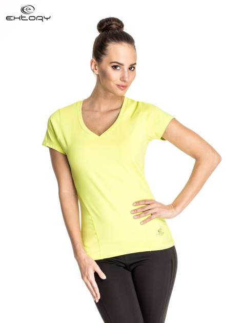 Zielony t-shirt sportowy z dekoltem V-neck PLUS SIZE