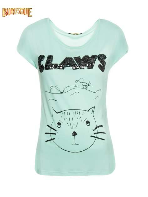 Zielony t-shirt z nadrukiem kota i myszy                                  zdj.                                  1
