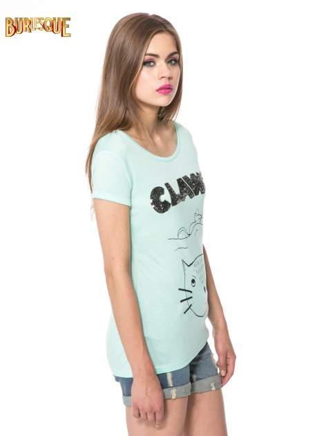 Zielony t-shirt z nadrukiem kota i myszy                                  zdj.                                  3