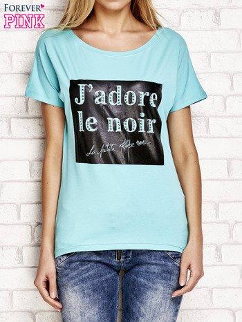 Zielony t-shirt z napisem J'ADORE LE NOIR
