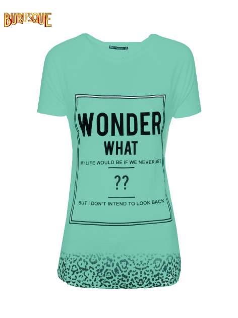 Zielony t-shirt z napisem WONDER WHAT?                                  zdj.                                  8