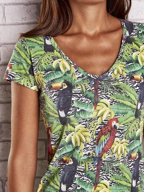 Zielony t-shirt z ptakami i egzotycznym nadrukiem dżungli                                  zdj.                                  5
