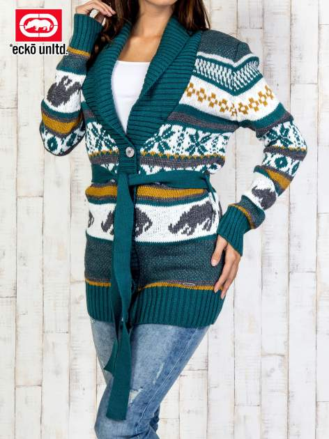 Zielony wzorzysty sweter na guziki                                  zdj.                                  1