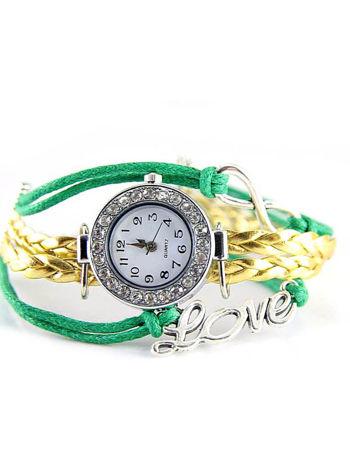 Zielony zegarek damski na skórzanym , plecionym sznurku