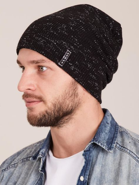 Zimowa czapka męska beanie czarna                              zdj.                              2