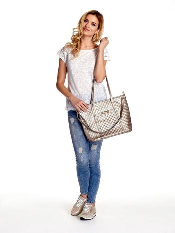 Złota pleciona torba shopper bag ze złotym detalem                                  zdj.                                  2