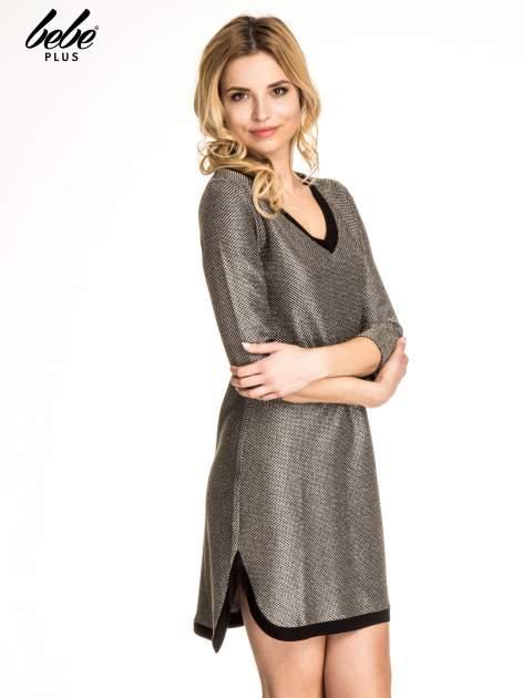 Złota sukienka z czarną lamówką                                  zdj.                                  3