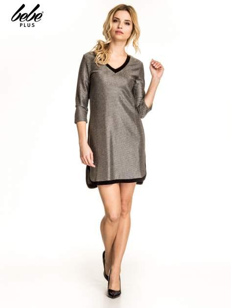 Złota sukienka z czarną lamówką                                  zdj.                                  5