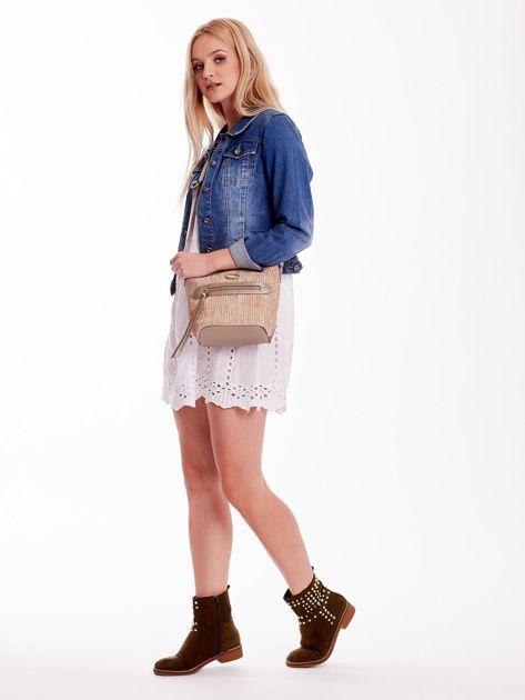 Złota torebka damska z plecionym modułem                              zdj.                              1