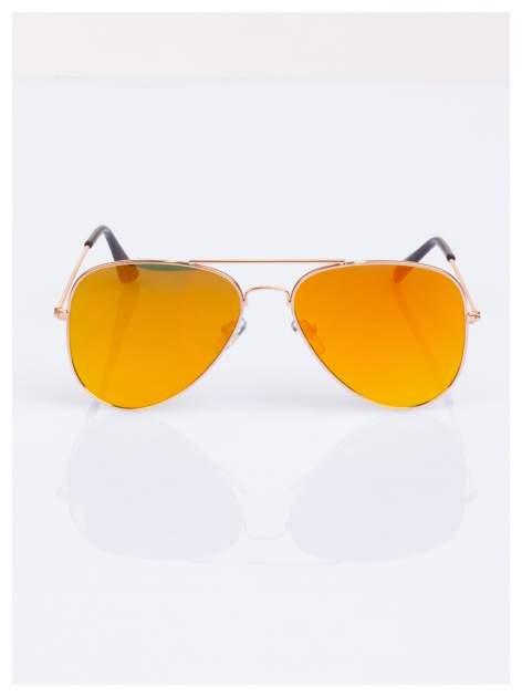 Złote AVIATORY okulary przeciwsłoneczne pilotki lustrzanki                                  zdj.                                  1