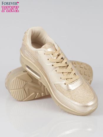 Złote buty sportowe faux leather Desire na podeszwie z poduszką powietrzną                                  zdj.                                  5