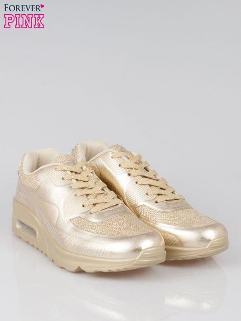 Złote buty sportowe faux leather Desire na podeszwie z poduszką powietrzną                                  zdj.                                  3