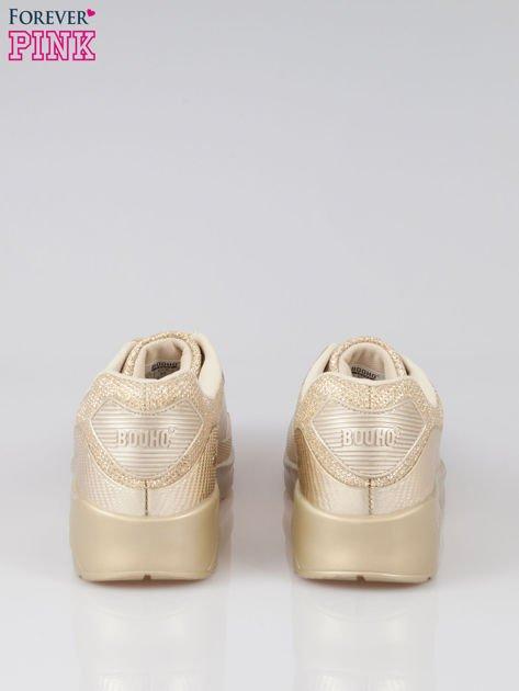 Złote buty sportowe faux leather Desire na podeszwie z poduszką powietrzną                                  zdj.                                  4