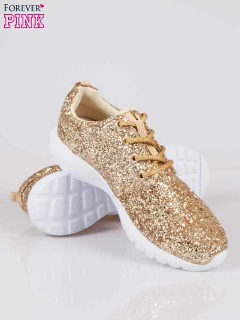 Złote buty sportowe textile Crummy z brokatowym efektem                                  zdj.                                  4