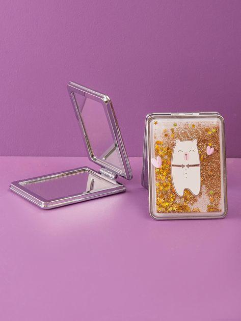 Złote lusterko kosmetyczne podwójne