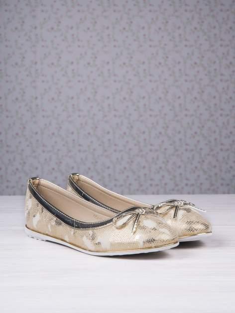 Złote marmurkowe baleriny gold leather Dream z kokardką                                  zdj.                                  2