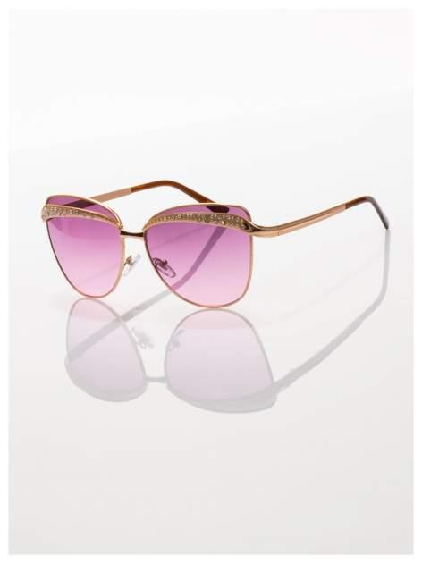 Złote okulary przeciwsłoneczne z cyrkoniami w stylu RETRO                                   zdj.                                  1