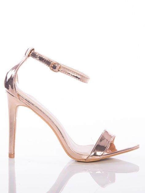 Złote sandały Vinceza na szpilkach zapinane w kostkach                              zdj.                              1