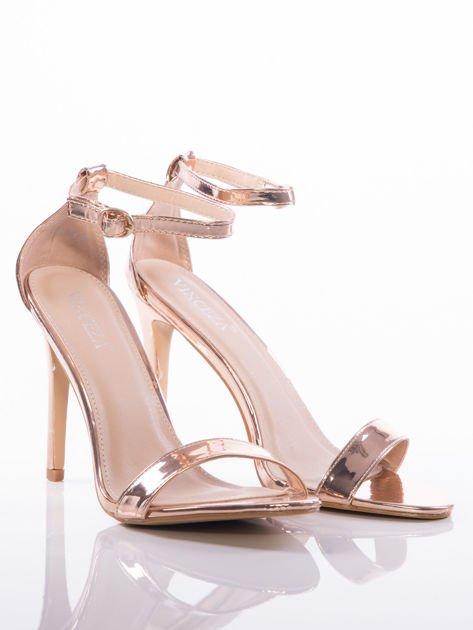 Złote sandały Vinceza na szpilkach zapinane w kostkach                              zdj.                              2