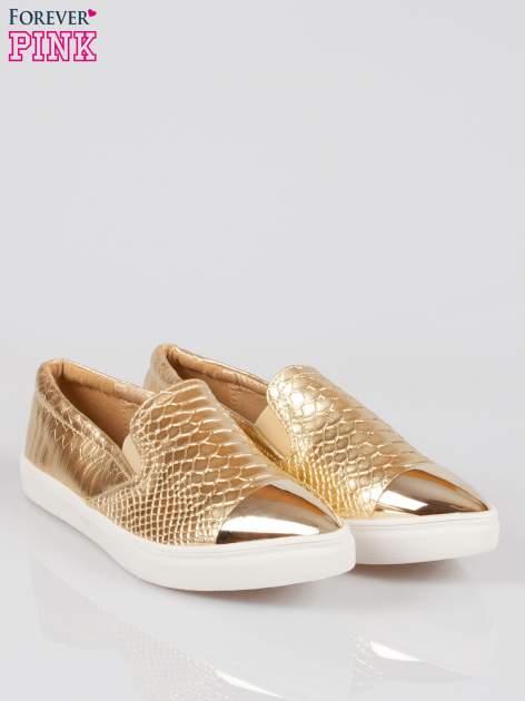 Złote wężowe buty slippers gold cap toe                                  zdj.                                  2