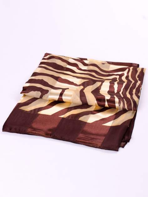 Złoto-brązowa chusta apaszka we wzór zebry                                  zdj.                                  3