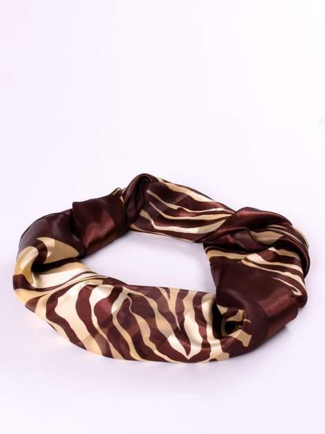 Złoto-brązowa chusta apaszka we wzór zebry                                  zdj.                                  2