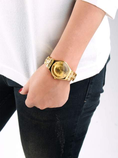 Złoty biżuteryjny zegarek damski ze złota tarczą                                  zdj.                                  3