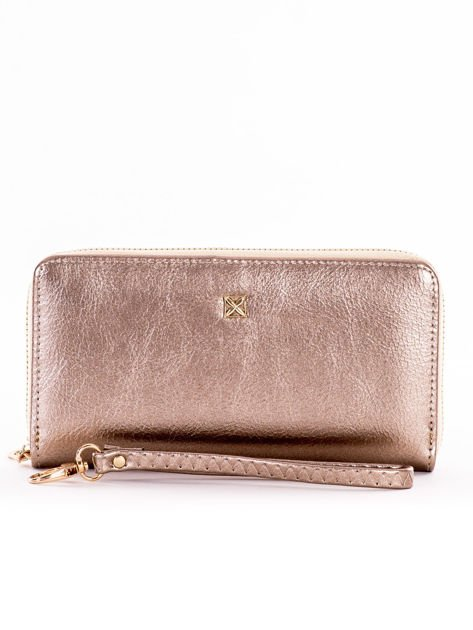 Złoty długi portfel na suwak ze skóry ekologicznej