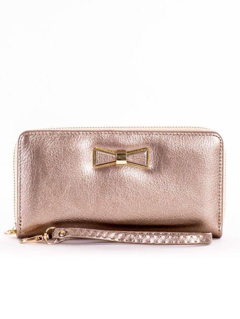 Złoty długi portfel na zamek z ozdobną kokardką