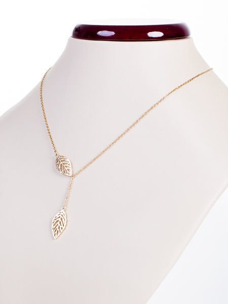 Złoty naszyjnik gwiazd krawat CELEBRYTKA ażurowe listki - STAL CHIRURGICZNA 316L                              zdj.                              2